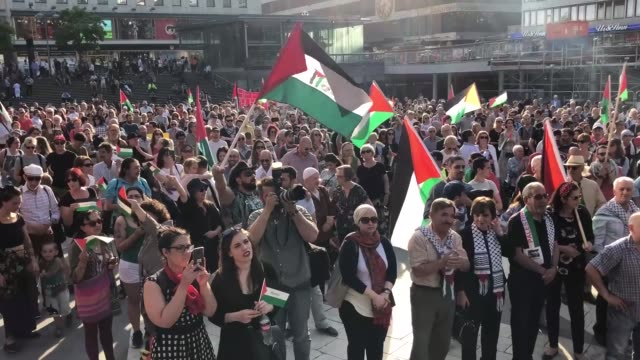 ProPalestinians demonstrate on May 15 2018 in Stockholm to mark the Nakba Day an annual event which commemorates the displacement of Palestinians in...