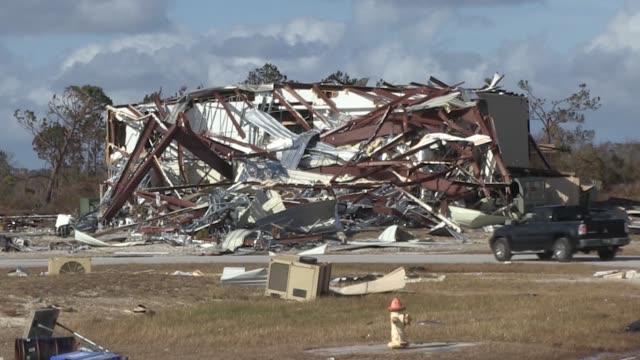 property damaged at tyndall air force base, florida in the wake of hurricane michael, florida. - military base stock videos & royalty-free footage