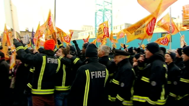 proposal to close 12 fire stations in london rejected england london ext various of firefighters demonstrating outside the london fire brigade hq... - emergency planning stock videos & royalty-free footage