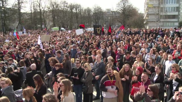 proposals to tighten an already restrictive abortion law draws thousands of people to protests in poland - tighten stock videos and b-roll footage