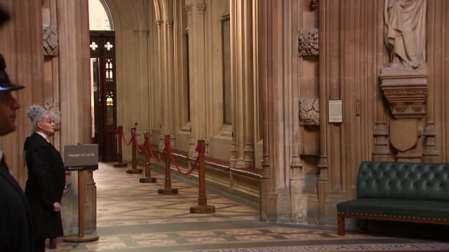 black rod and mps along through commons lobby england london westminster house of commons lobby int sarah clarke and john bercow mp chatting as along... - rod stock videos & royalty-free footage