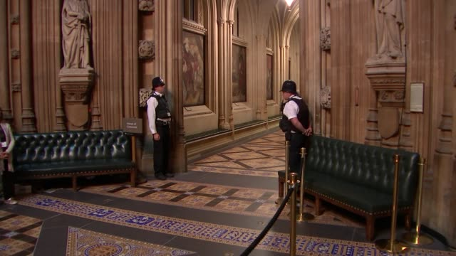 black rod and mps along through commons lobby england london westminster house of commons lobby int sarah clarke along to house of commons / mps... - rod stock videos & royalty-free footage