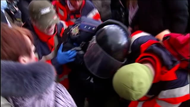 Donetsk EXT GVs ProRussian rally with supporters holding Russian flags and chanting SOT BV Russian supporters banging on door of the office of the...