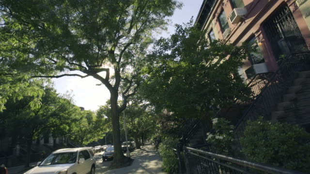 prospect heights - panning shot - terraced house stock videos & royalty-free footage