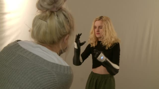 prosthetics company calls for bionic limbs to be available on the nhs england bristol int tilly lockey demonstating bionic hand as interview heard... - prosthetic equipment stock videos & royalty-free footage