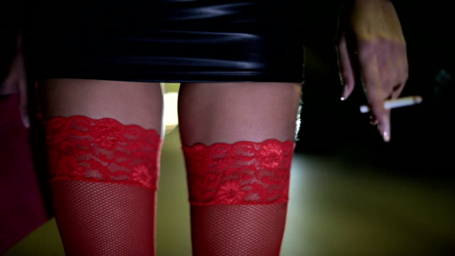 prostitute in red stockings - skirt stock videos & royalty-free footage