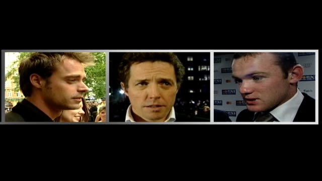 vídeos de stock, filmes e b-roll de proposals to legalise small-scale brothels; graphicised seq split screen of jamie theakston, hugh grant & wayne rooney graphicised seq split screen... - jamie theakston