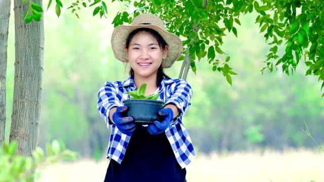 vídeos y material grabado en eventos de stock de proteger la naturaleza - adolescente chica sosteniendo una planta en maceta en un jardín - conservacionista