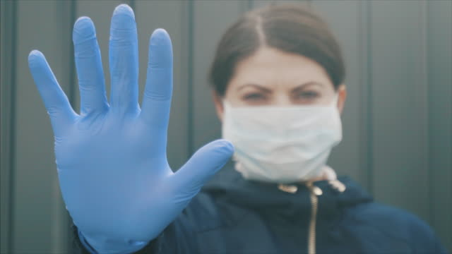 vídeos de stock e filmes b-roll de protect yourself against viruses. - stop