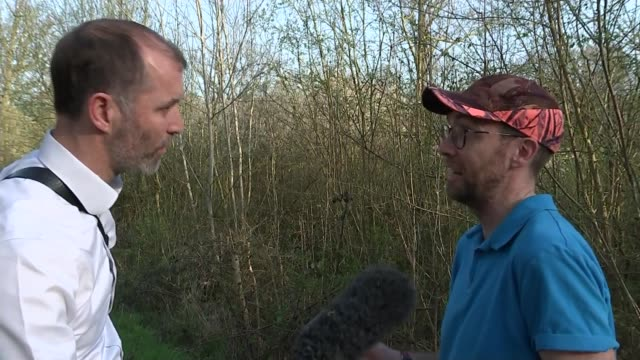 Protecting the environment after Brexit ENGLAND Kent Lodge Hill EXT Adrian Thomas interview with reporter in shot SOT