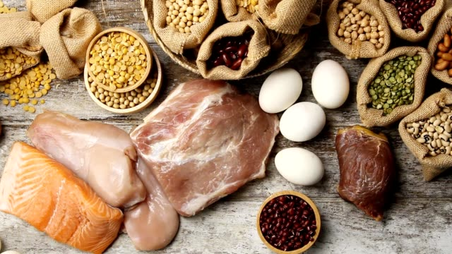 protein foods - roh stock-videos und b-roll-filmmaterial