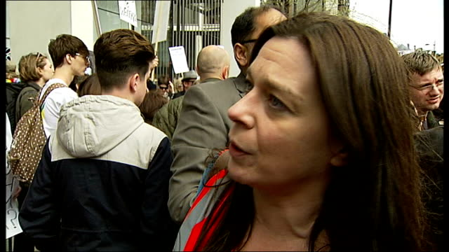 protest against 'bedroom tax'; england: london: knightsbridge: ext protesters against the so-called 'bedroom tax' chanting sot woman addressing... - pilgrim stock videos & royalty-free footage