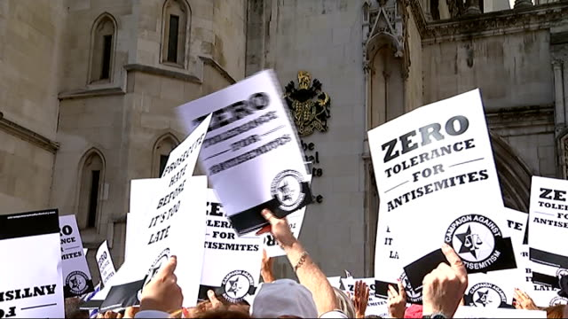 protest against rise in antisemitic crimes in london england london royal courts of justice ext various shots demonstrators holding 'zero tolerance... - soziale gerechtigkeit stock-videos und b-roll-filmmaterial