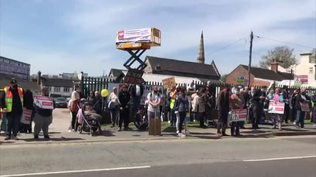 protest against the smell in silverdale, caused by hydrogen sulphide levels coming from walley's quarry landfill site - smelling stock videos & royalty-free footage