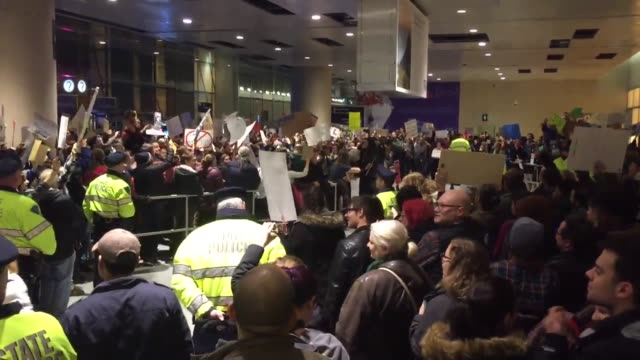 protest against trump's muslim ban at boston logan airport. - forbidden stock videos & royalty-free footage