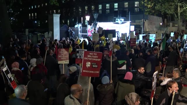 protest against visit of egyptian president to uk england london whitehall photography*** protesters with banners and placards and large egyptian... - president of egypt stock videos & royalty-free footage