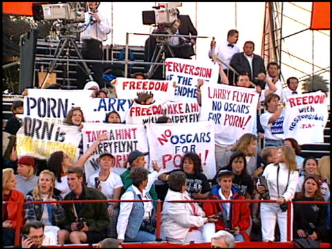 Protest at the 1997 Academy Awards Arrivals at the Shrine Auditorium in Los Angeles California on March 24 1997