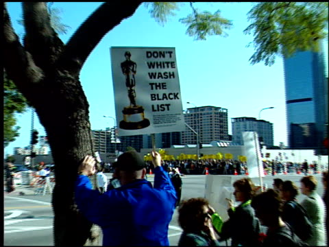 protest at the 1999 academy awards at the shrine auditorium in los angeles, california on march 21, 1999. - 71st annual academy awards stock videos & royalty-free footage