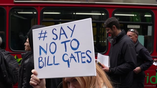 protest banner saying no to bill gates during standupx march for freedom protest on october 17, 2020 in london, england. they are calling for an end... - ideas stock videos & royalty-free footage