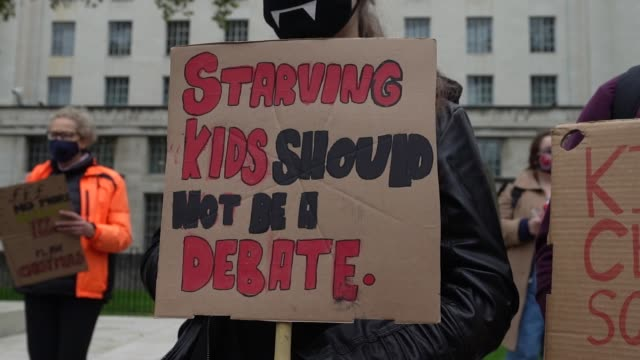 protest calling for free school meals in whitehall 24th of october london, united kingdom. protesters were calling the government to provide free... - social justice concept stock videos & royalty-free footage