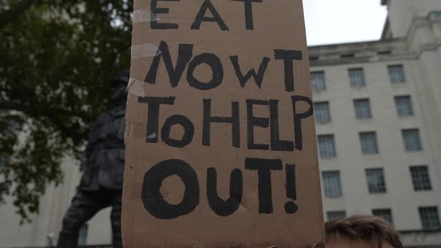 protest calling for free school meals in whitehall 24th of october london, united kingdom. protesters were calling the government to provide free... - whitehall london stock videos & royalty-free footage