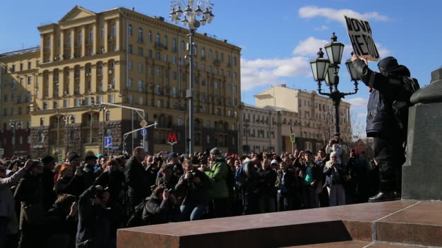A protest in downtown Moscow unsanctioned by the authorities organized by opposition leader and presidential hopeful Alexei Navalny The protest...