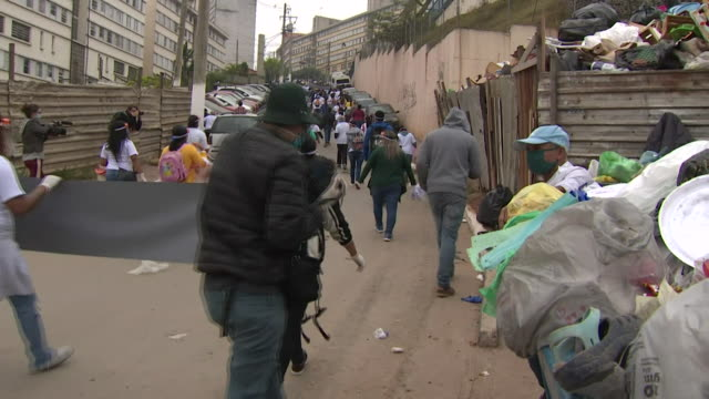 protest in sao paulo from people living in one the favelas, over the government's handling of the coronavirus pandemic - brazil stock videos & royalty-free footage