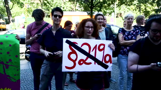 protest in solidarity with two doctors charged with providing information on abortion punishable under §219a of the german penal code on june 14 2019... - third reich stock videos and b-roll footage