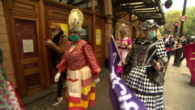 protest march through london's west end as pantomine dames and theatre staff protest over the damage being done to the theatre industry by... - bad condition stock videos & royalty-free footage