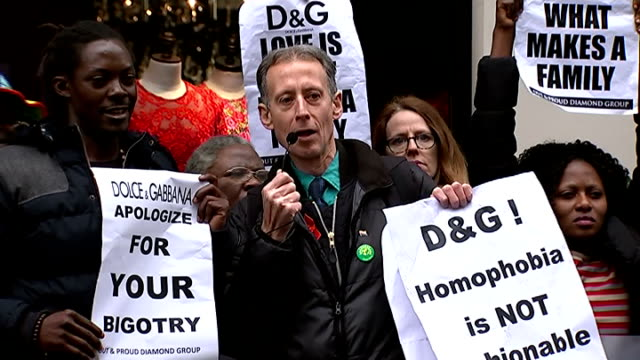 Protest outside Dolce Gabbana shop in London ENGLAND London EXT GVs of protest outside Dolce Gabbana shop / Peter Tatchell adressing crowd SOT 'DG...
