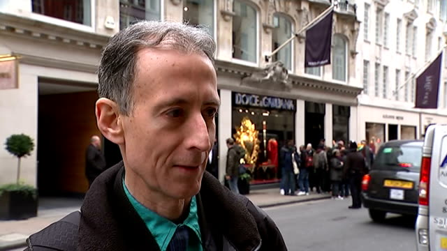 Protest outside Dolce Gabbana shop in London Peter Tatchell interview SOT