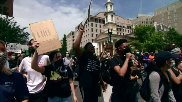 protest outside the white house over death of george floyd, an african american who died while being detained by police in minneapolis, and president... - protestor stock videos & royalty-free footage