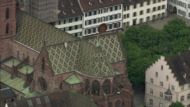 stockvideo's en b-roll-footage met aerial zo protestant reformed church and townscape, basel, switzerland - uitzicht over stadje