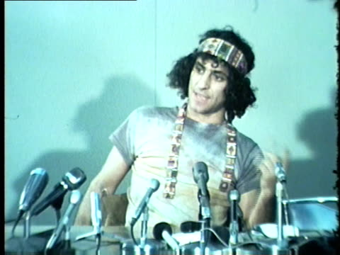WGN Protester Abbie Hoffman of the Chicago Seven trial Speaks to the Press in 1969