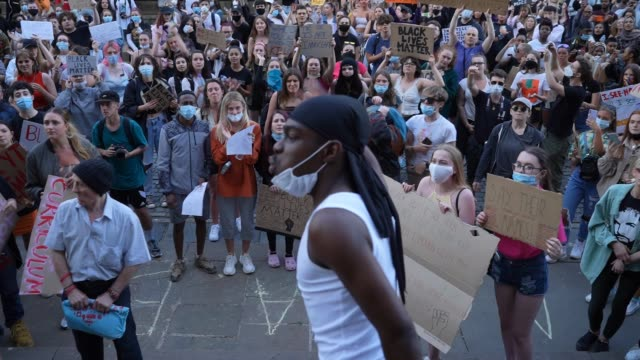 a protester chants to the crowd as people gather for a 'black lives matter' solidarity demonstration outside st george's hall on june 02 2020 in... - demonstration stock videos & royalty-free footage