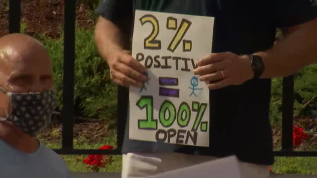 """protester holds a sign that reads """"2% positive = 100% open"""" during a protest for school reopenings amid the coronavirus pandemic in boston,... - healthcare and medicine or illness or food and drink or fitness or exercise or wellbeing stock videos & royalty-free footage"""