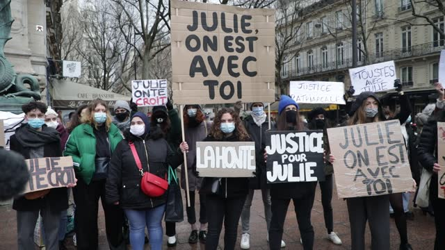 "protester holds a sign that reads ""julie, we are with you"" during a demonstration of feminist collectives to demand ""justice for julie"" on february... - partisan politics stock videos & royalty-free footage"