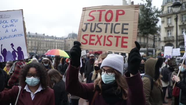 "protester holds a sign that reads ""stop sexist justice"" during a demonstration of feminist collectives to demand ""justice for julie"" on february 7,... - partisan politics stock videos & royalty-free footage"