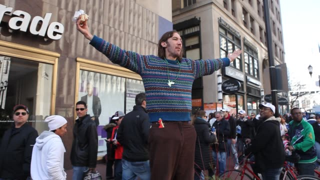 A protester says he's Jesus and yells for the legalization of Marijuana on the streets during Super Bowl XLVI in Indianapolis Indiana February 5 2012...