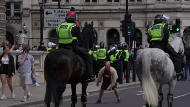 a protester try's to upset a police horse on june 13 2020 in london united kingdom following a social media post by the farright activist known as... - distraught stock videos & royalty-free footage