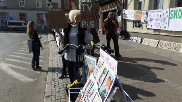 Protester with a Jaroslaw Kaczynski picture is seen in Gdansk Poland on 6 April 2019 KOD and Obywatele RP activists protest against Law and Justice...