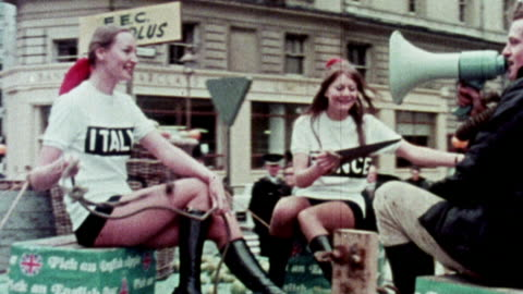 1973 montage protesters against the united kingdom's second application to join the eec / united kingdom - government stock videos & royalty-free footage
