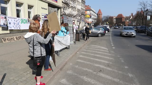 Protesters are seen in Gdansk Poland on 6 April 2019 KOD and Obywatele RP activists protest against Law and Justice government in front of local PiS...