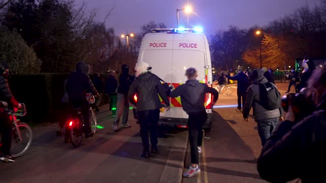 """protesters attack uk police vans as they flee on march 20, 2021 in london, england. """"world wide rally for freedom"""" protests, with apparent links to... - weekend activities stock videos & royalty-free footage"""