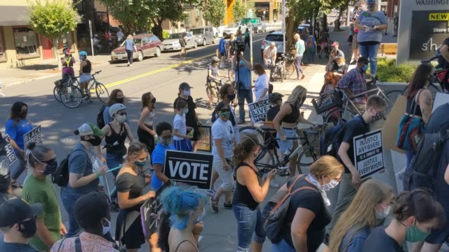 protesters carry signs and bicycles up stairs during a black lives matter march on august 28 2020 in portland oregon the protest organized by the... - portland oregon bike stock videos & royalty-free footage