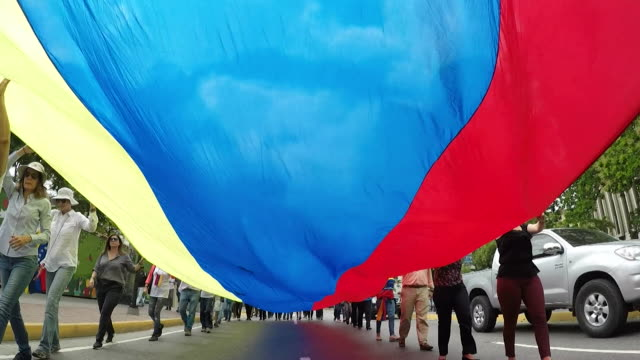 protesters carrying large venezuelan flag through the streets of caracas during anti government demonstration - venezuela stock videos & royalty-free footage