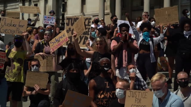 protesters chant black lives matter at protest in london global protests have been sparked by the death of george floyd an africanamerican who died... - african ethnicity stock videos & royalty-free footage