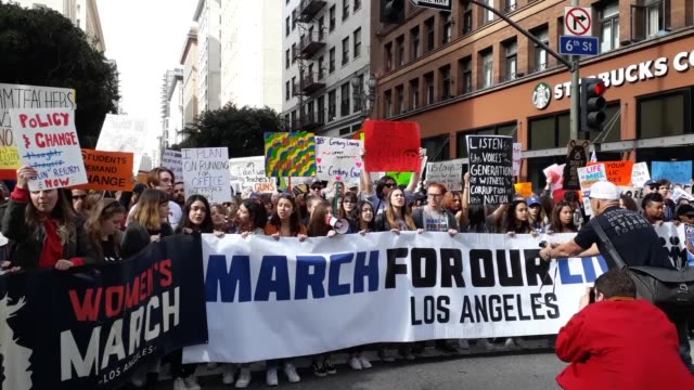 protesters chant during the march for our lives rally on march 24 2018 in los angeles united states more than 800 march for our lives events... - march for our lives video stock e b–roll