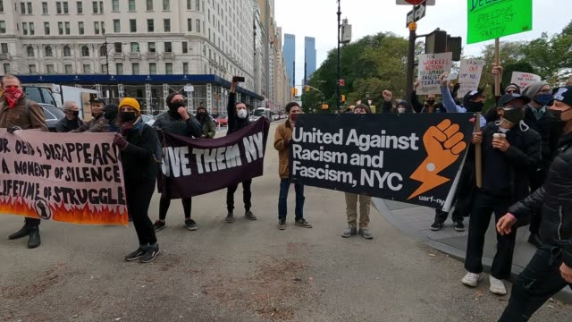 protesters chant say it loud say it clear proud boys are not welcome here during an antifascism protest on 5th avenue in midtown manhattan on october... - anti fascism stock videos & royalty-free footage
