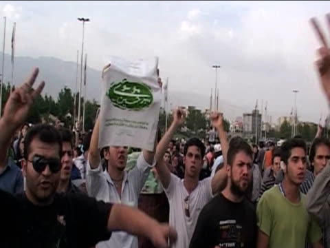 protesters chanting following results of presidential elections 14 june 2009 - 2009 stock videos & royalty-free footage